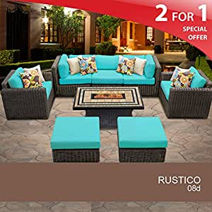 Rustico 8 Piece Outdoor Wicker Patio Furniture Set 08d