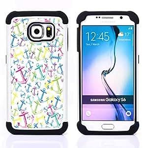 /Skull Market/ - Anchor Boat Pattern For Samsung Galaxy S6 G9200 - 3in1 h????brido prueba de choques de impacto resistente goma Combo pesada cubierta de la caja protec -