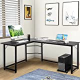 Modern Luxe L-Shaped Desk Corner Computer PC Table Workstation Home Office Desk (Black)