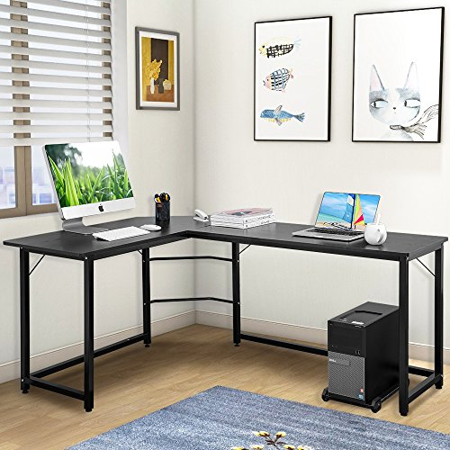 Modern Luxe L-Shaped Desk Corner Computer PC Table Workstation Home Office Desk (Black) by Modern Luxe