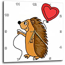3dRose All Smiles Art Love - Funny Cool Hedgehog with Love Balloon Cartoon - 13x13 Wall Clock (dpp_265133_2)