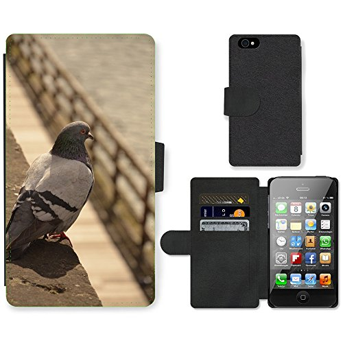 Just Phone Cases PU Leather Flip Custodia Protettiva Case Cover per // M00127539 Pigeon Oiseau aquatique Metz France // Apple iPhone 4 4S 4G