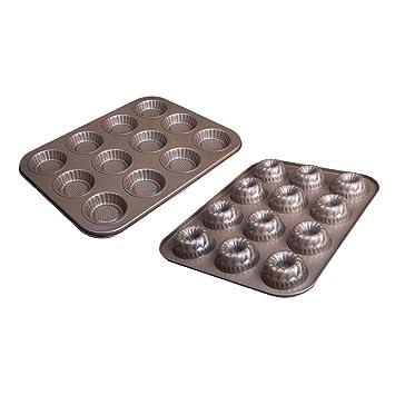 Baoblaze 2pcs 12 Cavidad Mini Molde de Torta Cookie Galletas Bandeja para Hornear Savarin Calabaza Y Girasol: Amazon.es: Hogar