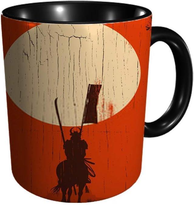 DJNGN silueta de samurai montando a caballo en el campo en taza de cerámica de 11 oz, regalo de cumpleaños, té, café