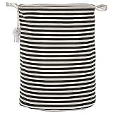"""Sea Team 19.7"""" Large Sized Waterproof Coating Ramie Cotton Fabric Folding Laundry Hamper Bucket Cylindric Burlap Canvas Storage Basket with Stylish Red & White Stripe Design, Black"""