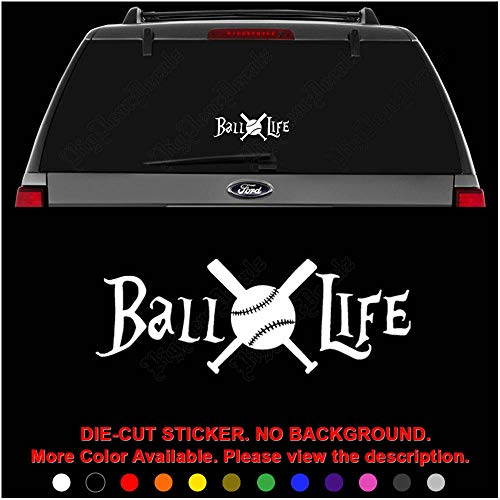 (Ball Life Baseball Player Bat Die Cut Vinyl Decal Sticker for Car Truck Motorcycle Vehicle Window Bumper Wall Decor Laptop Helmet Size- [8 inch] / [20 cm] Wide || Color- Gloss White)