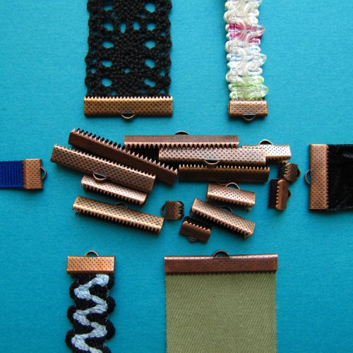Assorted Sizes of Ribbon Clamp End Crimps - Antique Copper