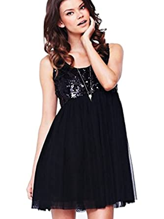 Love Label Black Sequin & Net Mini Party Prom Dress Size 8 10: Amazon.co.uk: Clothing