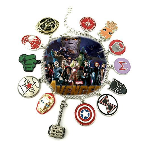 Marvel Infinity War AVENGERS ( 11 Themed Charms) Metal/Enamel Charm BRACELET By Superheroes (Star Trek Wars)