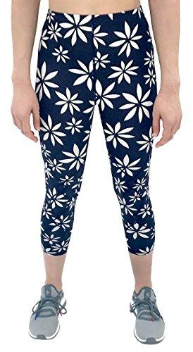 CW-X Women's Mid Rise 3/4 Capri Stabilyx Compression Legging Tights (Small, Navy/White Daisy Print) by CW-X