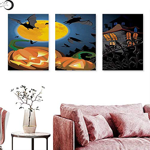 Mannwarehouse Halloween Home Decor Gothic Halloween Haunted House Party Theme Design Trick or Treat for Kids Print Triptych Photo Frame Multicolor W 12
