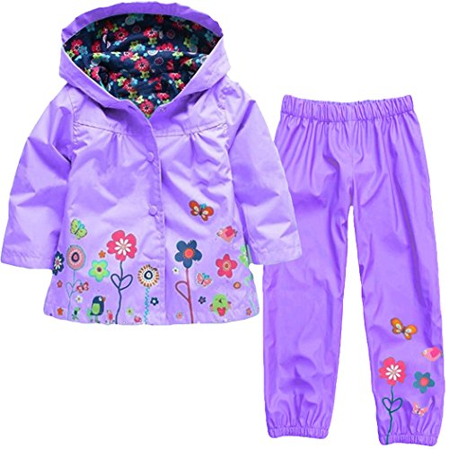Wennikids Baby Girl Kid Waterproof Floral Hooded Coat Jacket Outwear Raincoat Hoodies Clothing Set XX-Large Purple