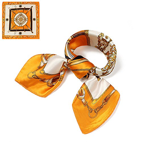 QBSM Womens Orange Gold Chain Satin Silk Feeling Formal Square Neck Scarf Head Hair Scarfs Wraps 23.6 inch