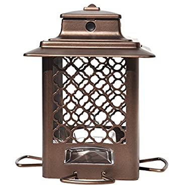 More Birds 105IN Copper Finish Metal Hopper Bird Feeder with the SureFill No Spill Filling System, Four Feeding Ports, 3.6 lb Seed Capacity