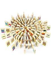 S.O.S Domino Infantil Madera Bloques Construccion Letras Scrabble Madera Dominó 100 Piezas Letras Numeros Patrón de Doble Cara Regalo para Niños +