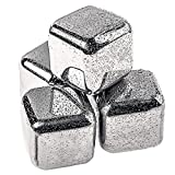 Daffodil Whiskey Stones - Set of 6 Stainless Steel Whiskey Ice Cubes with Freezing Storage Tray Reusable Wine Chillers, Whisky Chillers, Whiskey Chilling Rocks Sipping Stones