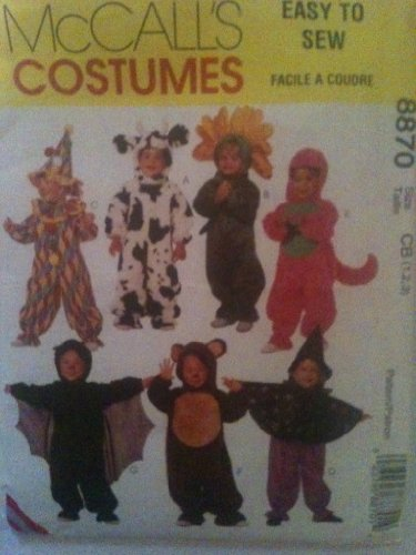 McCall's 8870 - Children Costumes (Clown, Cow, Flower, Dinosaur, Bat, Bear, Witch) Pattern Size (Clown Costume Patterns)