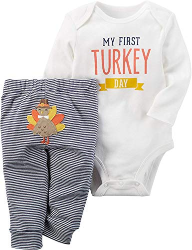 Thanksgiving Outfit Baby Girls Boys Newborn My First Turkey Day Romper Bodysuit Onesie and Striped Turkey Pants 9-12 Mo