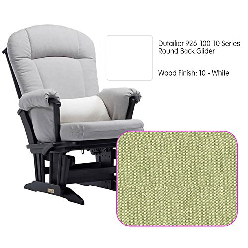 Dutailier 926 Series Round Back Maple Glider in White With Cushion - Glider Back Maple