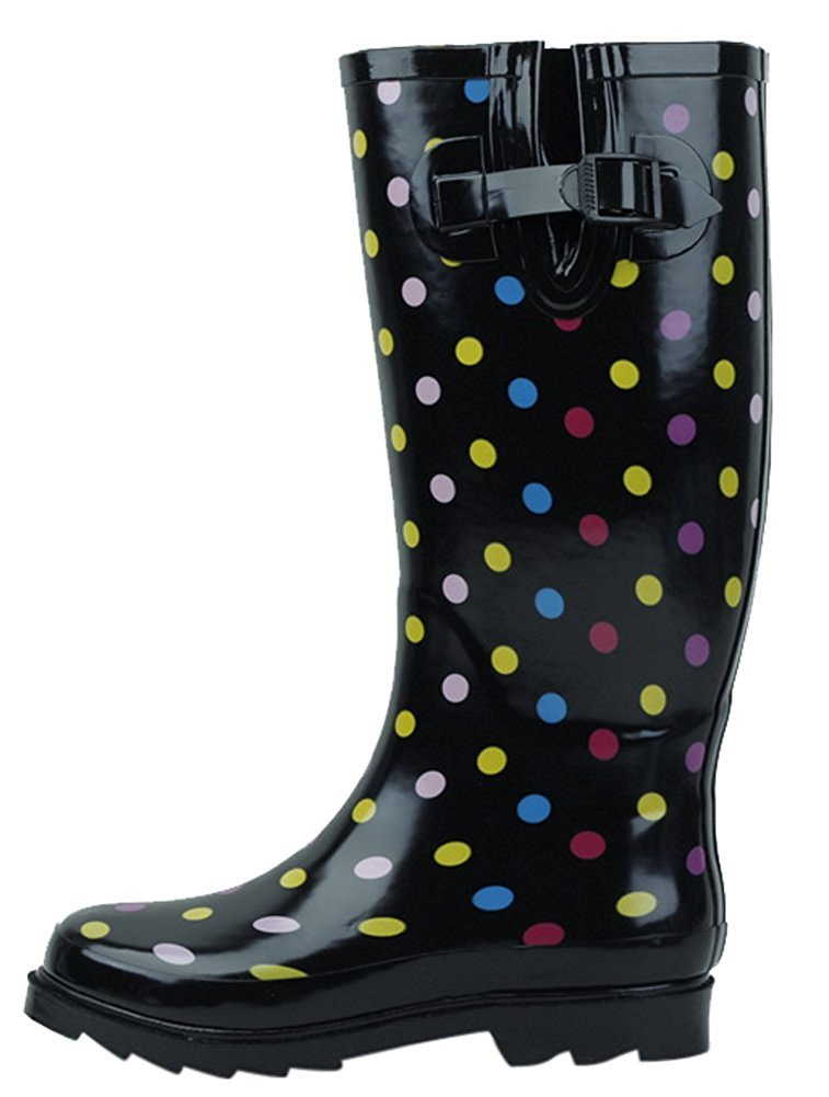 SBC Women's Rain Boots Adjustable Buckle Fashion Mid Calf Wellies Rubber Knee High Snow Multiple Styles B00W5QAOLW 10 B(M) US|Color Polka Dots
