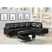 AC Pacific Mila Collection Contemporary 2-Piece Upholstered Tufted Living Room Set with Sofa and Chaise Sectional, Black