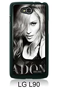 Beautiful And Unique Designed Case For LG L90 With Madonna Ciccone Black and White black Phone Case