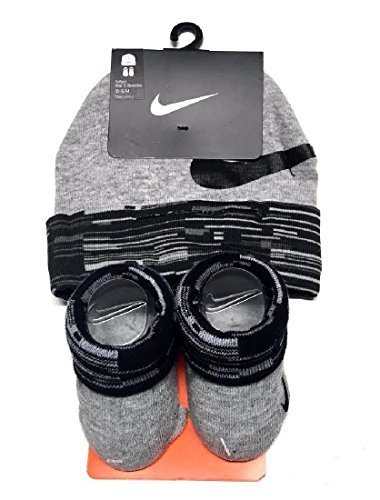 Cap Booties (Nike Baby Boys Big Swoosh Graphic Print Hat & Booties Set 0-6M)