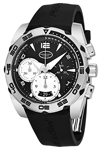Parmigiani Fleurier Pershing 002 Mens Automatic Chronograph Watch - 42mm Analog Black Face with Second Hand, Date, Chrono and Tachymeter Scale - Black Rubber Band Swiss Made Waterproof Watch for Men