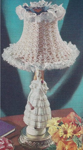 Vintage Crochet PATTERN to make - Lampshade Cover Frilly Small. NOT a finished item. This is a pattern and/or instructions to make the item only. ()