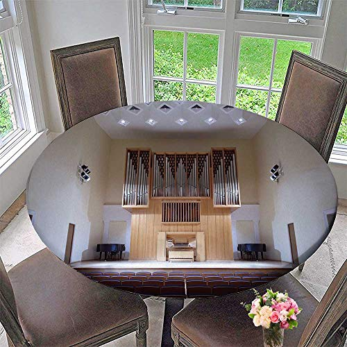 PINAFORE HOME Circular Table Cover Massive Wooden Pipe Organ in Empty Concert hrow Seats for Wedding/Banquet 67