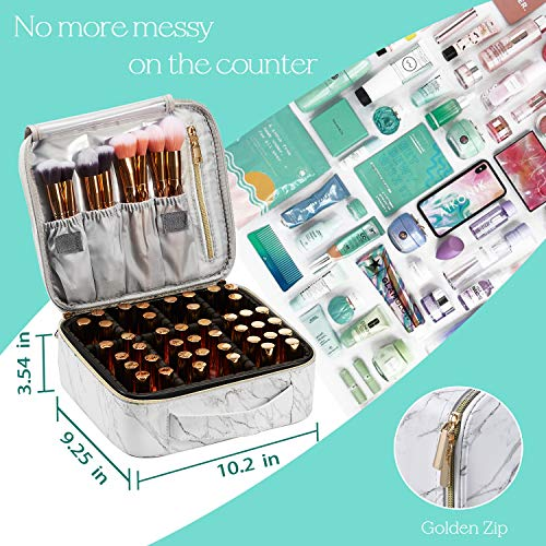 Marble Leather Makeup Case Cosmetic Bag PU Leather Makeup Organizers Storage Portable Brush Holder with Adjustable Divider Zipper Pocket for Cosmetics Tools Gadgets Gift for Women, White