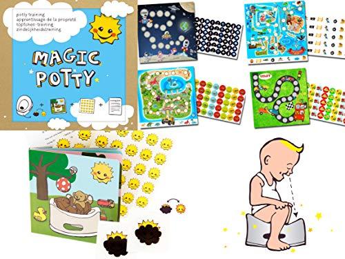 Töpfchentrainer Magic Potty + 4 x Belohnungssystem Jungen - damit der Wechsel von Windel zum Töpfchen besser klappt