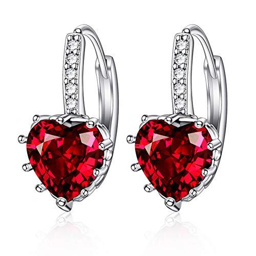 (Eyelash Stud Crystal LOVE HEART Earrings, Owl Stud Water Cube Earrings, Hypoallergenic Copper Earrings, Cubic Zirconia Hook Earrings Gift for Women, Girl or Bride Sensitive Ears (Red))