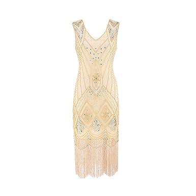 Longra 1920s Kleid Damen Retro 20er Jahre Stil Paillettenkleid Flapper  Kleider mit Fransen V Ausschnitt Gatsby 9f3c19ca2f