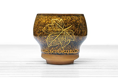 Speckled Pottery (Ceramic Tea Bowl Cup Chawan Clay Teacup Speckled Glaze Gold Leaf Chinese Teaware (yellow, gold, 5.7 oz))