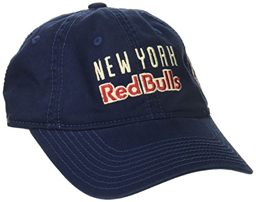 (adidas MLS New York Red Bulls Women's Adjustable Slouch Hat with Script Logo, One Size, Navy)