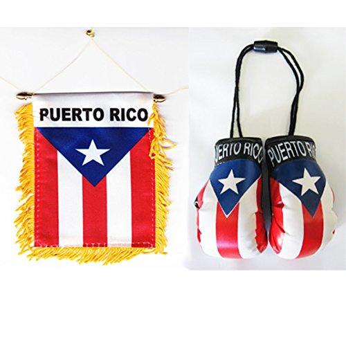 Puerto Rico - Boxing Glove and Window Hanger Combo - Puerto Rico Flag Car