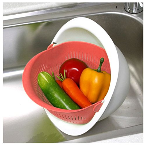 Reverse Mixing Bowl - Multi function Mixing Bowl with Strainer Colander (Orange) Made in ()