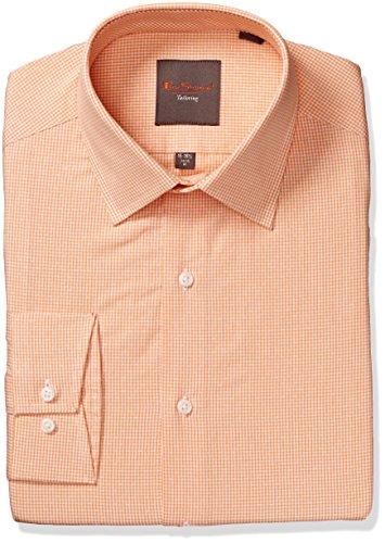Ben Sherman Men's King Slim Fit Gingham Dress Shirt, Apricot, 17.5
