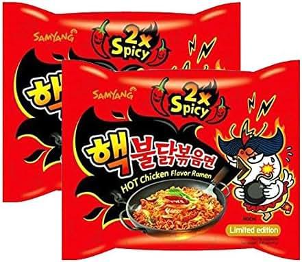 [ 2 Pack ] Samyang 2X Extra Spicy Hot Chicken Flavor Ramen Korean Spicy Noodle (140g each)
