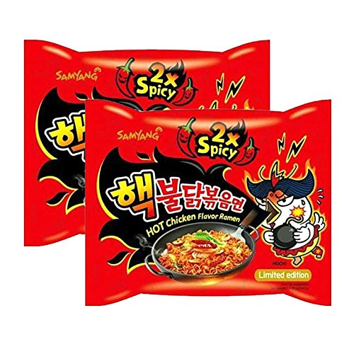 cken [ 2 Packs ] Samyang 2X Extra Spicy Hot ChiFlavor Ramen KOREAN SPICY NOODLE (140g Each)