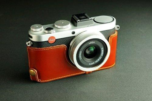 Tan Genuine Handmade Camera Half Leather Case Bag Cover for Leica X2 X1 X-E (Typ102) (Bottom open-able)