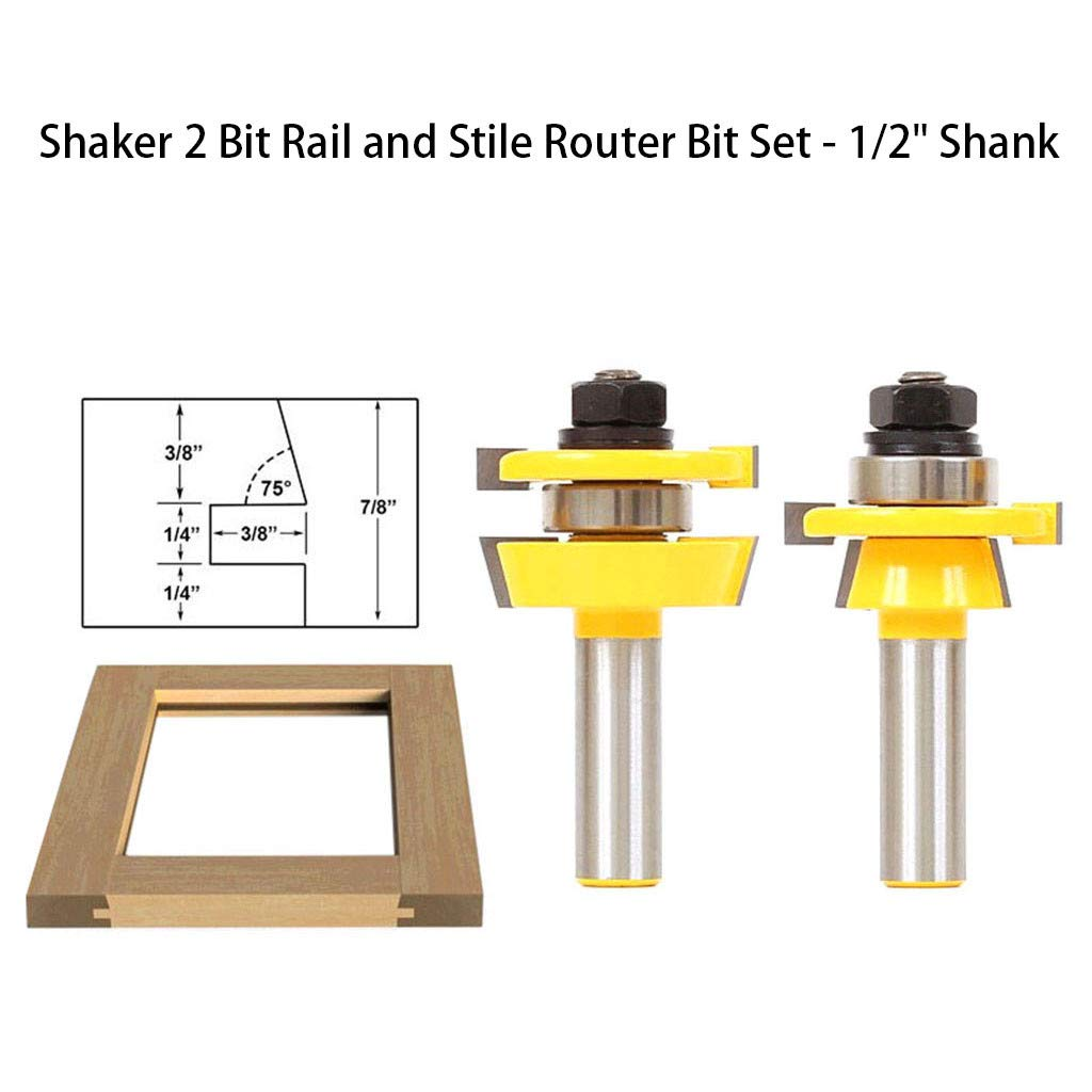 1KTon Shaker 2 Bit Rail and Stile Router Bit Set - 1/2 Shank by 1KTon
