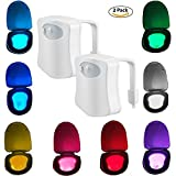 2-Pack iBetterLife Advanced LED Toilet Lights Motion Detection, 8-Color Changing Inside Tolit Glow Bowl Nightlight, Human Body Infrared Auto Activated Sensor Seat Lamp Fixtures(Only Activates in Dark)