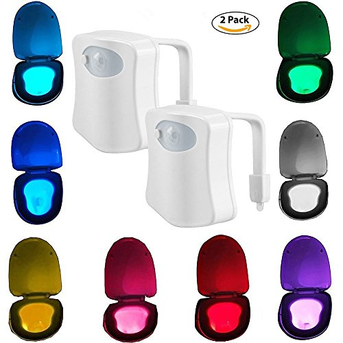 2-Pack iBetterLife Advanced LED Toilet Lights Motion Detection, 8-Color Changing Inside Tolit Glow Bowl Nightlight, Human Body Infrared Auto Activated Sensor Seat Lamp Fixtures(Only Activates in (Motion Light Set)