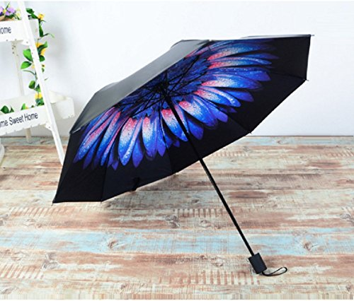 BESTFUN Travel Umbrella - Lightweight Rain Umbrella for Men and Women, Windproof Folding Compact Umbrellas with Multiple Colors (Flowers) ()
