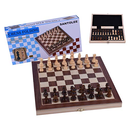 Magnetic Chess Set 11.8In Chess Tactics Armory Folding Wooden Felted Travel Board Game Interior Storage Standard Edition ()