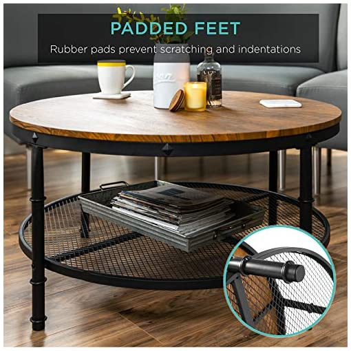 Farmhouse Coffee Tables Best Choice Products 2-Tier 35.5in Round Industrial Coffee Table, Rustic Steel Accent Table for Living Room, w/Wooden… farmhouse coffee tables