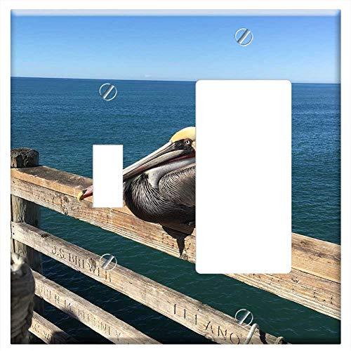 1-Toggle 1-Rocker/GFCI Combination Wall Plate Cover - Pelican Ocean Pier Beach Bird Wildlife Sea Bl (Bird Plates One Pier)