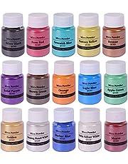 15 Colors Mica Powder Shake Jars Natural Pearl Powder Resin Pigment for Soap Making Dye Kit Bath, Bomb Dye Colorant, Candle Making, DIY Art Craft